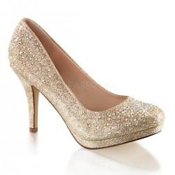 Barna strasszköves magassarkú cipő