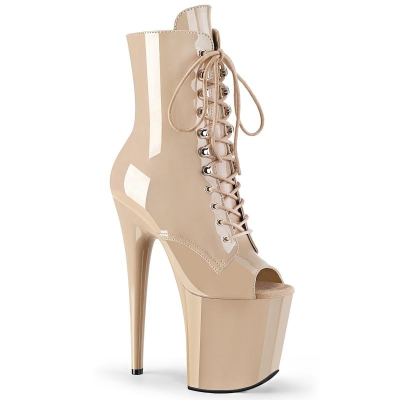 FLAMINGO 1021 Barna lakk nyitott orrú táncos cipők bokacsizma extra magas platform