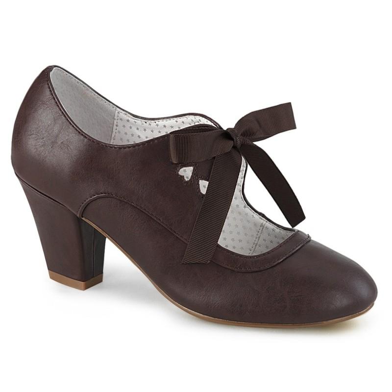 WIGGLE 32 Barna műbőr masnis retro cipők cipő lapostaslpú