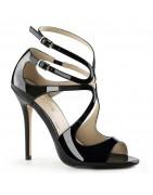 13 cm magassarkú cipők lakk, bőr, szatén, klasszikus magassarkú szandálok, zárt sarokkal és vékony bokapánt