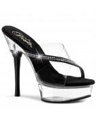 5 inch Táncos cipők, strasszköves magassarkú, platform táncos szexi cipők, papucsok